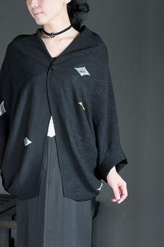 画像1: バックスリットドルマンブルゾン Japanese Kimono, Rain Jacket, Windbreaker, Blouse, Womens Fashion, Fabric, Asia, Jackets, Dresses