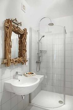 Great idea for the mirror in my master bath! A Prairie Home Companion, Room Inspiration, Design Inspiration, Driftwood Mirror, Income Property, Master Bath, Wall Decor, Shower, Country