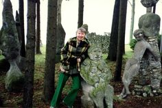 Mary Nohl with one of her yard sculptures (photo source unknown)