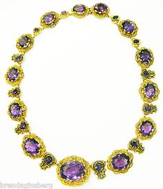 A steal at $6,500 - this Georgian-era (circa 1820) antique French necklace in solid 18K gold with Siberian amethysts is as lovely as it is practical!