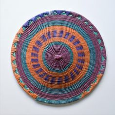 Sudanese made woven African palm straw basket. This unique basket is made of palm leaves dyed with vibrant stable colors. Has a rustic chic feel. Boho Kitchen, Kitchen Decor, Red Basket, Rustic Plates, Basket Decoration, Baskets On Wall, Handmade Wooden, Rustic Chic, Green And Orange