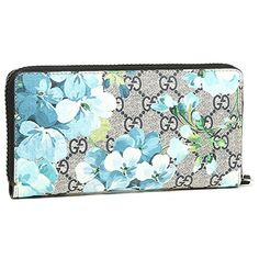b47e67fe10a Gucci Blooms Flower Wallet Travel Large Zip around Box Bloom Navy Blue  Italy New