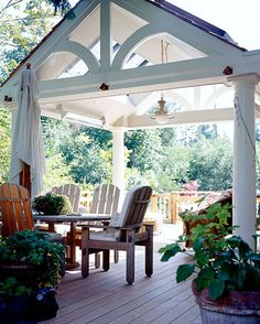 residential, patio, white arbor with columns, dining, furniture, plants
