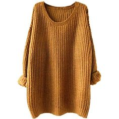 ASHERANGEL Women Basic Long Sleeve Sweaters Pullover Loose Outwear Top ($20) ❤ liked on Polyvore featuring tops, sweaters, sweater pullover, cut loose tops, brown tops, loose fit sweater and long sleeve tops
