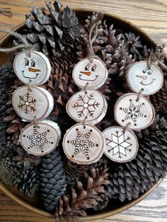 Wood Burned Snowman Christmas Ornaments by BurnwoodCreations
