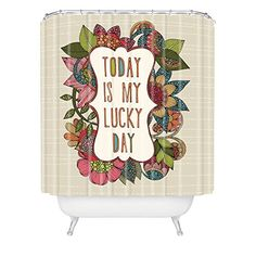 Trendy Shower Curtain Valentina Ramos Today is My Lucky Day Shower Curtain
