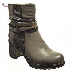 Angkorly - Chaussure Mode Bottine low boots plateforme femme peau de serpent lanière boucle Talon haut bloc 7 CM - Intérieur Fourrée - Gris - F976 T 41 - Chaussures angkorly (*Partner-Link)
