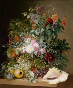 Follower of Arnoldus Bloemers (1792-1844) - Still Life with Flowers, Bird's Nest, Pomegranates and Mussels