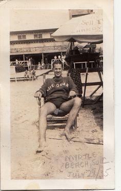 Lifeguard at Myrtle Beach, SC, July 1935 Vintage Pictures, Old Pictures, Vintage Images, Old Photos, Vintage Men, Vintage Bikini, Vintage Swimsuits, The Last Summer, Photos Originales