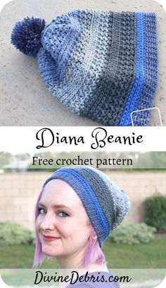 Make a simple and quick crochet hat that will work great for you from fall into those colder winter months with the Diana Beanie free crochet pattern Easy Crochet Hat Patterns, Crochet Beanie Pattern, Crochet Patterns Amigurumi, Crochet Hats, Crochet Poncho, Crochet Dolls, Doll Patterns, Quick Crochet, Free Crochet