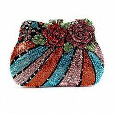 Rose Flower Shape Luxury Crystal Clutch Bags ♦F&I♦ Beaded Purses, Beaded Bags, Unique Purses, Vintage Purses, Vintage Hats, Wholesale Bags, Floral Pillows, Flower Shape, Beautiful Bags