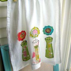 appliqued flour-sack kitchen towel