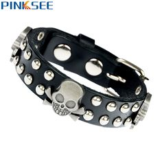 Unique Rock Spikes Rivet Gothic Skeleton Skull Punk Biker Cuff Leather Bracelet For Men Women Cool Wristband Jewelry 2017