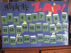 "Musical ""ZAP""! - Could tie this with our music note bucketfillers. Good blog with lots of ideas."