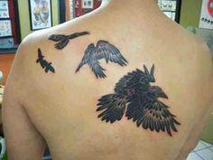 Tattoo by Jojo Miller, Dynamic Ink, Eternal Ink, tattoo placement, tattoo ideas, tattoos for men, tattoos for women, tattoos, raven, ravens, crow, crows, back tattoo