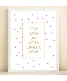 Pink and Gold Polka Dot 'Grateful Heart' print by Amanda Catherine Designs