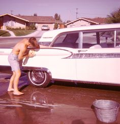 1950s House Plans California | ... of teenage boy washing classic car in 1950s suburb of ranch homes