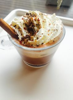 Spicy hot chocolate with chili, cinnamon and sea salt✨ Hot Chocolate, Cinnamon, Spicy, Ice Cream, Sea Salt, Chili, Desserts, Food, Canela