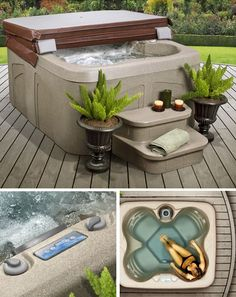 Lifesmart Rock Solid Simplicity Plug and Play 4 Person Spa With 12 Jets capacity Rock Solid sandstone Sahara shell and surround 12 high-therapy jets with a waterfall Deluxe Balboa digital control; spa light with red and blue lens caps hp pump Foyers, Spas, Beach Hacks, Waterfall Features, Color Changing Lights, Built In Seating, Outdoor Living, Outdoor Decor, Outdoor Rooms
