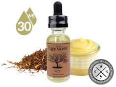 VCT by Ripe Vapes stands for vanilla, custard, tobacco. The joose is rich and creamy vanilla custard finished with a velvety caramel tobacco exhale. Let VCT from Ripe Vapes become your new E-juice addiction. #CustardFlavor #ejuice #eliquid