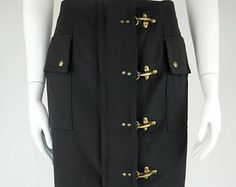 Moschino Cheap & Chic vintage wool skirt gold tone metal buckle size M -    Edit Listing  - Etsy