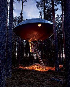スウェーデンで人気のツリーホテルの一室、その名もずばり「UFO」。