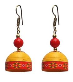 Yellow with red trendy quilled jhumkas