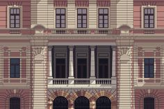 Detailed, Colorful Elevation Drawings of Historic Brazillian Buildings Illustrated in CAD,Mining and Metal Museum, Belo Horizonte (detailed illustration). Image © Zema Vieira