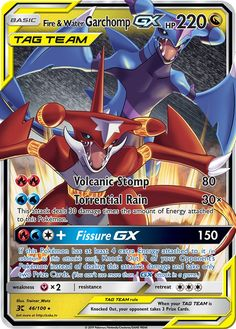 Fire & Water Garchomp GX Tag Team Custom Pokemon Card - Pokemon about you searching for. Giratina Pokemon, Fake Pokemon Cards, Pokemon Cards Legendary, Pokemon Fusion Art, Pokemon Dragon, Pokemon Eeveelutions, Pokemon Memes, Charizard, Bologna