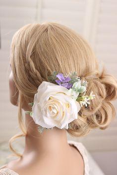 Bridal rose hairpiece Flower hair clip wedding by GadaByGrace