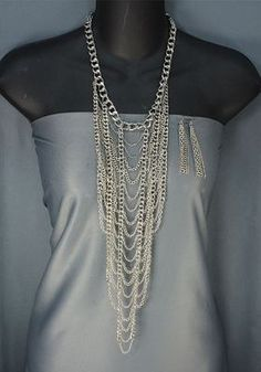 Long Multilayered CHAIN WEB BIB Silver Tone Chain Necklace Earrings Set