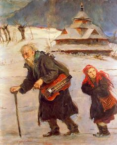 Lirnik i dziewczyna - Teodor Axentowicz (1859 – 1938, Polish)