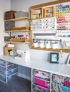 Check out this colorful and organized craft room makeover with a giant pegboard and get inspired by dozens more craft rooms! Check out this colorful and organized craft room makeover with a giant pegboard and get inspired by dozens more craft rooms!