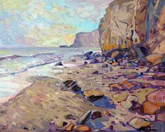 Rocky shores of San Diego's Torrey Pines original oil painting by contemporary impressionist Erin Hanson
