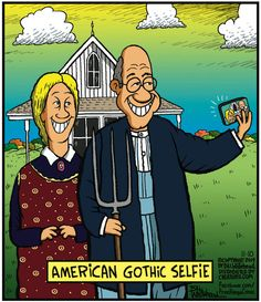American Gothic: Free Range by Bill Whitehead American Gothic Painting, American Gothic House, Grant Wood American Gothic, American Gothic Parody, Art Grants, Funny Cartoons, Cartoon Humor, Famous Artwork, Art Institute Of Chicago