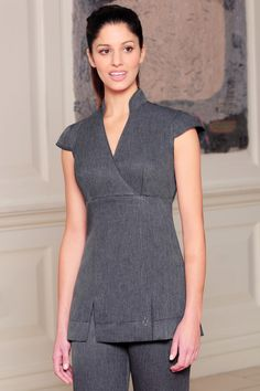 Grey Linen Look Beauty Tunic by Diamond Designs Uniforms Salon Uniform, Spa Uniform, Scrubs Uniform, Long Dress Fashion, Look Fashion, Womens Fashion, Healthcare Uniforms, Beauty Tunics, Beauty Uniforms