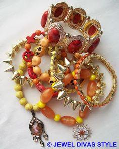 Yellow/Orange/Red skull multi bracelet stack