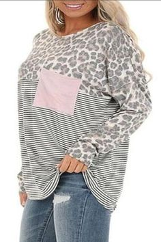 Round Neck Printed Leopard Loose Casual T-Shirt #Leopard, #AFF, #Printed, #Neck, #Shirt #Adver