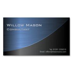 Black Brushed Blue Steel Curved, Business Card