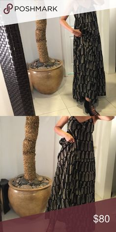 Ralph Lauren Denim and Supply maxi dress Black cotton back ground with tan paisley pattern evokes a certain ethnic quality. Adjustable spaghetti straps, tiered ruffle detail, and subtle tie at breast. So comfortable and feminine! Denim & Supply Ralph Lauren Dresses Maxi