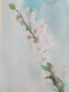 Spring morning in my garden. Watercolor