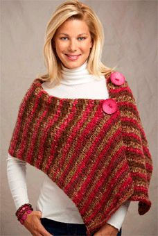 Big Button Wrap, Free Knitting Pattern from Knitting Daily- in my iBooks. Knitting Daily, Loom Knitting, Free Knitting, Simple Knitting, Knitted Poncho, Knitted Shawls, Crochet Scarves, Knit Or Crochet, Crochet Shawl
