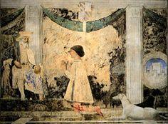 Fresque ancienne. Sigismondo Pandolfo Malatesta et les lévriers  devant saint Sigismond, 1451, (Rimini, Tempio Malatestiano).