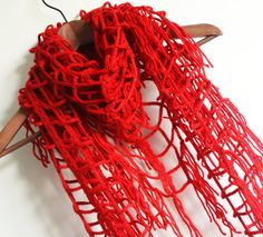 romantic winter  soft triangle netting red by LOVELYCHICKNITTING, $33.00