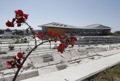 Athens -Broken concrete outside the Olympic taekwondo stadium.