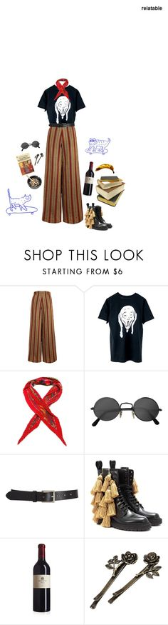 """""""weird art student"""" by unwriteable ❤ liked on Polyvore featuring The Bee's Sneeze, Hermès, Retrò, Barneys New York, Burberry and MARA"""