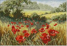 Cross-stitch pattern'Poppy field' is created with painting of artist Mary Dipnall. Pattern Name: Poppy Field Company: Cross-stitch