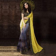 Buy Yellow - Grey Georgette Half & Half Saree online India, Best Prices, Reviews - Peachmode
