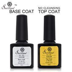 Saviland Top Coat Seal Gel Base Coat Primer For UV LED Nail Art Gel Normal Top Base For Soak Off Gel Nail primer Clean Free