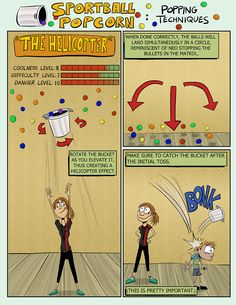 Sportball Popcorn Popping Techniques: The Helicopter  |  #Sportball Edmonton comics by Coach Tad Martindale #ComicWednesday